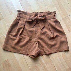 High Waist Camel Shorts